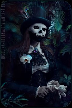Baron Samedi PSD file by Nikulina-Helena on DeviantArt Baron Samedi, Gothic Fantasy Art, Fantasy Kunst, Dark Fantasy, Gothic Kunst, Girl Faces, Religion, Dark And Twisted, Photoshop