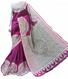 Magenta Kantha Work Silk Saree-----------------------Celebrate womanhood's charms in the most graceful garment there ever was. Set the tone with the finest selection of Kantha sarees from Luxurionworld.com
