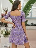 Elle mini dress – Lussoca Purple Pattern, Sweetheart Dress, Types Of Sleeves, Floral Prints, Short Sleeve Dresses, Boho, Mini, Women, Style