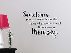Sometimes you will never know the value of a moment until it becomes a memory inspirational family love vinyl quote saying wall art lettering decor >>> Visit the image link more details.-It is an affiliate link to Amazon. #WallSculptures
