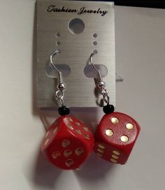 Excited to share the latest addition to my #etsy shop: Wooden Dice Earrings size 15mm Rockabilly Rockenroll 50's https://etsy.me/2jG3N61