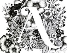 Art print of letter S with floral background. Great gift! Message me for customizations or commissioned pieces.  Black and white ink, more letters of the alphabet coming soon.