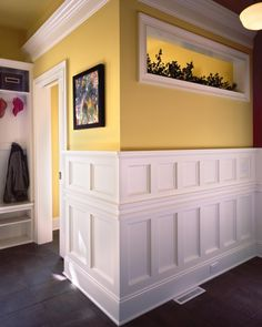 Wainscoting is great looking in hallways. It's also a lot easier to clean than traditional sheetrock walls
