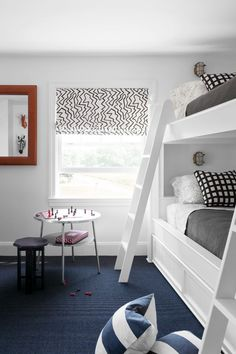 Fun black and white textile for the roman shade + navy blue carpet and white bui., Fun black and white textile for the roman shade + navy blue carpet and white built in custom bunk beds White Bunk Beds, Bunk Beds Built In, Modern Bunk Beds, Carpet Diy, Cheap Carpet, Hall Carpet, Pink Carpet, White Carpet, Decorating Bedrooms