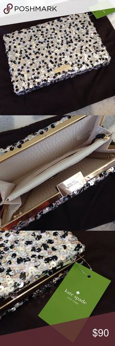 Kate Spade sequin clutch brand New! Gray, silver and gold sequin clutch! kate spade Bags Clutches & Wristlets