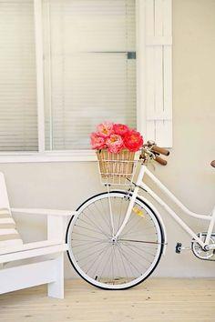 peonies and bike