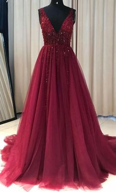 Elegant Prom Dresses, Burgundy Prom Dress A Line Simple Modest V-neck Long Prom Dress Shop for La Femme prom dresses. Elegant long designer gowns, sexy cocktail dresses, short semi-formal dresses, and party dresses. Cheap Red Prom Dresses, Pretty Prom Dresses, Prom Dresses For Teens, A Line Prom Dresses, Prom Party Dresses, Party Gowns, Dance Dresses, Burgundy Prom Dresses, Burgundy Gown