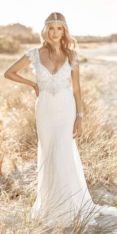 anna campbell 2017 bridal short butterfly sleeves scoop neck heavily embellished bodice romantic elegant sheath wedding dress open back chapel train (ruby) mv -- Anna Campbell 2017 Wedding Dresses