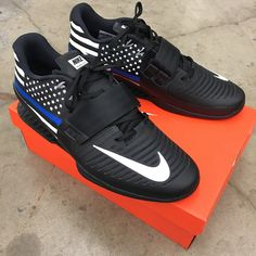 4017c7d7c7dc These black Nike Romaleos have the American Flag on them with the Blue Line  representing Law. B Street Shoes