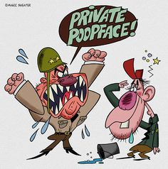 #army #sergeant #private #dopey #anger #illustration