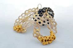 """Honeycomb"" earrings by Κaziale Stavroula"