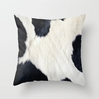 Throw Pillow featuring Cowhide Black and White by gypsykissphotography