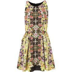Intricate Flower Origami Dress ($120) ❤ liked on Polyvore featuring dresses, vestidos, robes, topshop, women, flower pattern dress, floral printed dress, pleated dress, blossom dresses and flower print dress