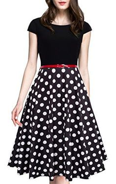 HOMEYEE Women's Vintage Elegant Cap Sleeve Swing Party Dress (S, Dot): Size Information(just for reference): br brSize br brSize br brSize br brSize br brSize br brPls allow inch differs due to manual measurements, your understand wi. Dot Dress, Dress Skirt, Skater Dress, Casual Dresses, Fashion Dresses, Black Leather Mini Skirt, Look Cool, Designer Dresses, Beautiful Dresses