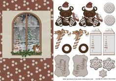 Christmas Bear on Craftsuprint designed by Eileen Deliot - A nice sheet with a christmas bear and a window.  - Now available for download!
