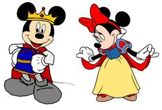 Disney Fan Art: Prince Mickey and Princess Minnie - Snow White Clipart Mickey Mouse, Mickey Mouse Imagenes, Minnie Mouse Images, Disney Clipart, Disney Fan Art, Disney Love, Disney Magic, Mickey And Minnie Tattoos, Mickey Minnie Mouse