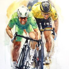 Mark Cavendish and Peter Sagan Mark Cavendish, Bicycle Art, Cycling Art, Amazing Adventures, Biking, My Eyes, Art Work, Baseball Cards, Instagram Posts