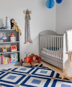 Diamonds flatweave rug paired with IKEA Gonatt crib and retro Speedster children's car