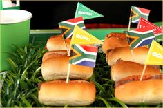If you're looking for an easy way to add a touch of World Cup flair to your party, add some toothpick team flags to some sandwiches! If you're feeling a little bit more creative, add some traditional toppings, sauces or meats to the sandwiches from each of the countries represented.