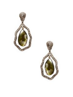Karma Jewels Green Tourmaline & Diamond Wavy Open Teardrop Earrings