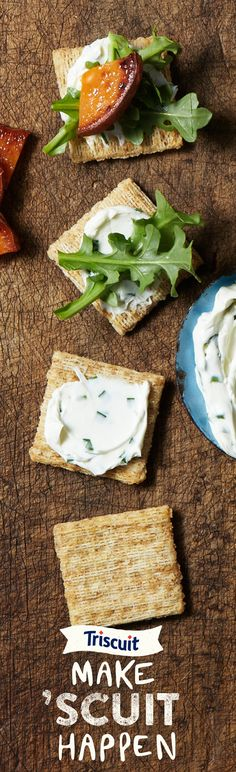 With any three ingredients you can Make 'Scuit Happen. Try chive cream cheese, roasted sweet potato and arugula on a TRISCUIT cracker.