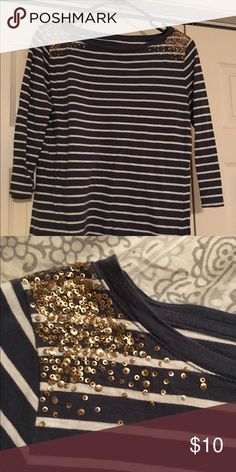 striped shirt with sequin shoulder detail! awesome shirt for casual with a little shine! small patches of gold sequin detail on shoulders. 3/4 length sleeves. Merona Tops Tees - Long Sleeve