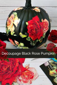 Use rose napkins to create a beautiful black decoupage rose pumpkin for the fall season. #halloween #fall #pumpkin #pumpkincraft #decoupage Crafts To Make, Fun Crafts, Crafts For Kids, Amazing Crafts, Creative Crafts, Creative Ideas, Diy Halloween Decorations, Halloween Crafts, Vintage Halloween