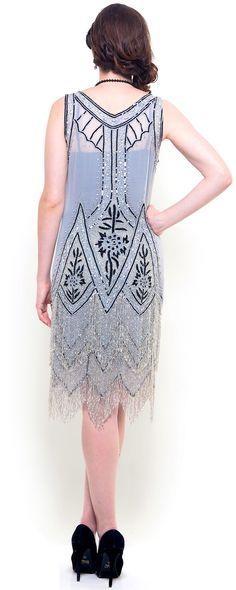 Grey & Black Embroidered Somerset Flapper Dress