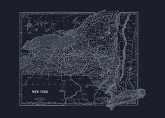 NEW YORK STATE Map New York State Blueprint by EncorePrintSociety