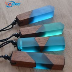 Fashionable Wood Resin Necklace With Woven Rope Chain for Men & Woman. #jewelry #necklace