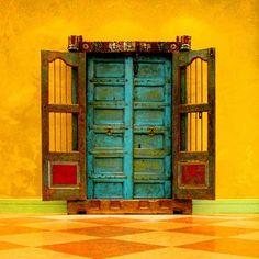 door orange turquoise contrast