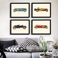 Classic Cars Canvas Art Vintage Room Decor Multi Panel Carts Wall Pictures Oil Painting On Canvas Living Room Office
