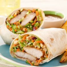 Thai Peanut Chicken Wrap -  would probably work with leftover breaded chicken cutlets too.
