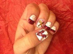 Custom by Bethany. Diy Nails, Cute Nails, Pretty Nails, Baseball Nails, Atlanta Braves, Gorgeous Nails, Mani Pedi, Nail Arts, Nail Designs