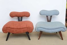 1940, Hollywood Glam Pair of Grosfeld House Midcentury Modern Slipper Chairs