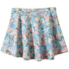 High Waist Denim Skater Skirt in Floral Print