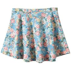 High Waist Denim Skater Skirt in Floral Print ($56) ❤ liked on Polyvore featuring skirts, bottoms, clothes - skirts, saias, flared denim skirt, denim skirt, blue skater skirt, denim flare skirt and flared skirt