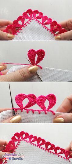 Crochet Lace Edging, Crochet Borders, Crochet Flower Patterns, Crochet Hearts, Crochet Designs, Crochet Yarn, Crochet Flowers, Crochet Stitches, Crochet Hooks