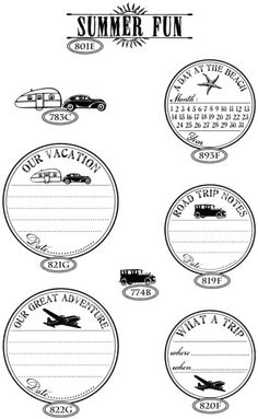 Travel stamps - Catslife Press  This is a nice idea for a family with young children to fill in together.