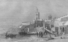 Port of Tangier, antique print, 1860