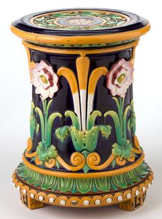A MINTON MAJOLICA PASSION FLOWER GARDEN SEAT . Minton, Stoke-on-Trent, Staffordshire, England, circa 1870.
