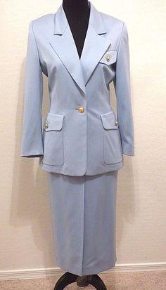 Vtg ESCADA Sky Blue Virgin Wool 38 US 8 Skirt Suit  #ESCADA #SkirtSuit