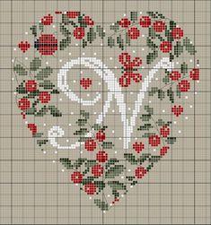 ru / Фото - Coeurs Alphabet - mornela Plus Just Cross Stitch, Cross Stitch Heart, Cross Stitch Alphabet, Cross Stitch Flowers, Cross Stitching, Cross Stitch Embroidery, Cross Stitch Patterns, Embroidery Alphabet, Christmas Embroidery
