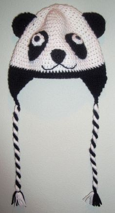 Crocheted Adult Panda Hat