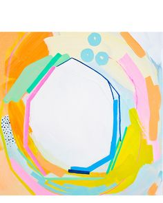 A cheery balance of brights and pastels. By Britt Bass, an abstract painter and installation artist.