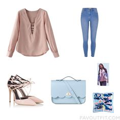 Wardrobe Items Featuring Blouse Super Skinny Jeans Fratelli Karida Pumps And Shoulder Handbag From September 2016 #outfit #look