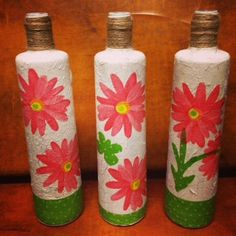 The Spring Fling Trio from Beths Wine Designs features white mosaic with bright pink daisies. Handmade butterflies accompany the flowers.   It's Always Wine Time with Beth's Designs!