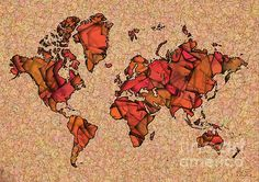 World Map Takkede In Brown And Orange by elevencorners. World map wall print decor. #elevencorners #maptakkede