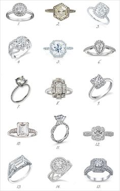 A round-up of diamond engagement rings! What could be better? Via Wedding Chicks.