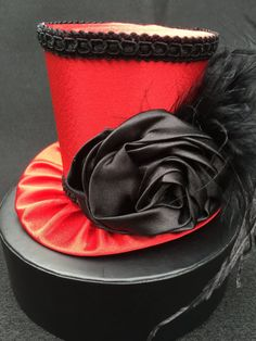 Red Satin Mad Hatter Mini Top Hat for Dress Up by daisyleedesign